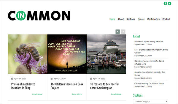 Website design for In Common, Southampton