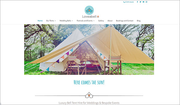 Website designed for Loveabell, luxury camping / glamping for weddings and events